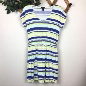 Gap Crepe Striped Drawstring Waist T-shirt Dress